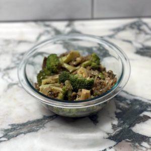 "Underground Vegan ""Beef"" and Broccoli Plated"