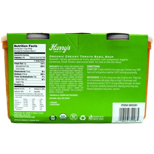 Harry's Organic Organic Creamy Tomato Basil Soup Back
