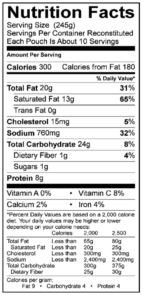 Ivar's Clam Chowder Nutrition
