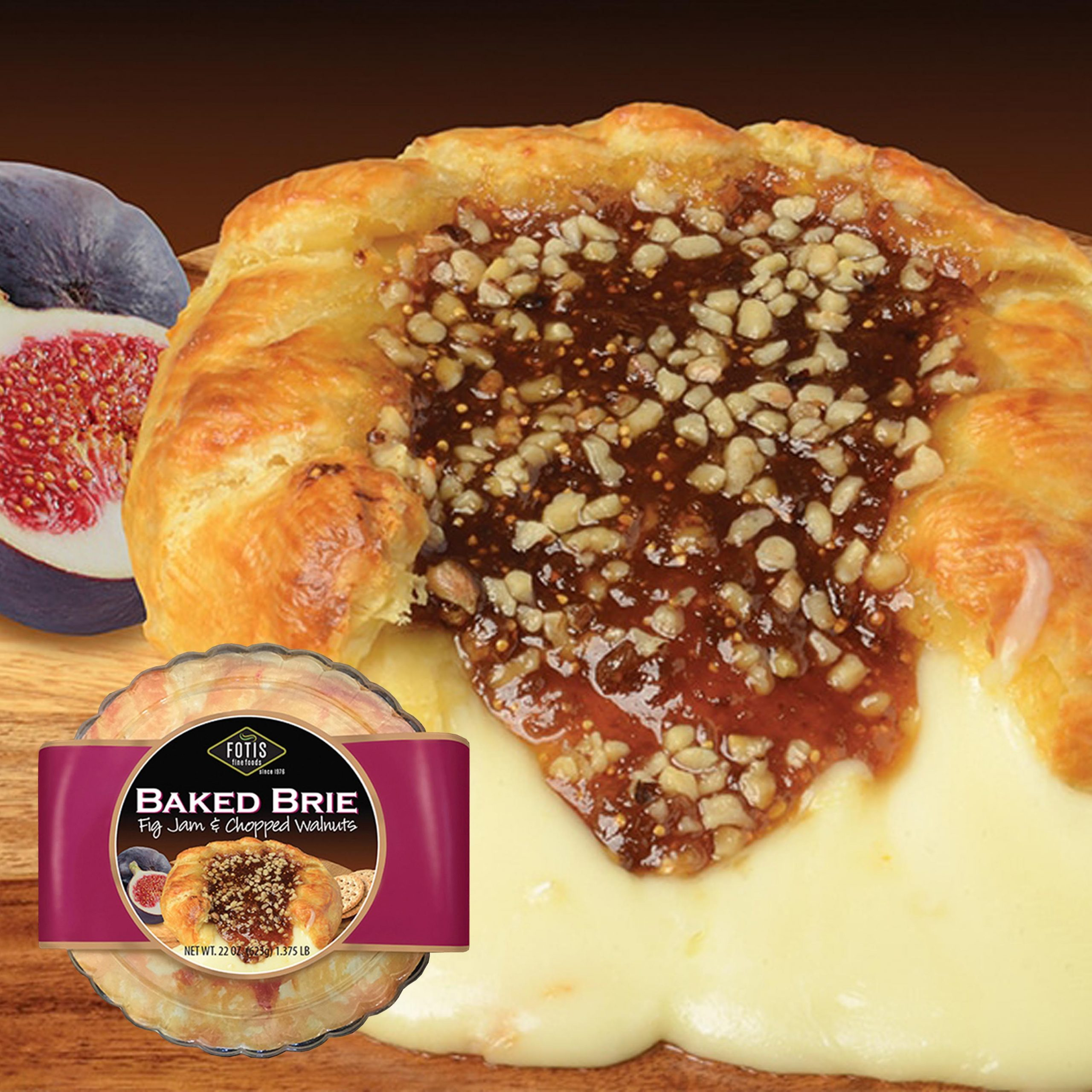 Fotis Baked Brie with Fig Jam & Chopped Walnuts Feature