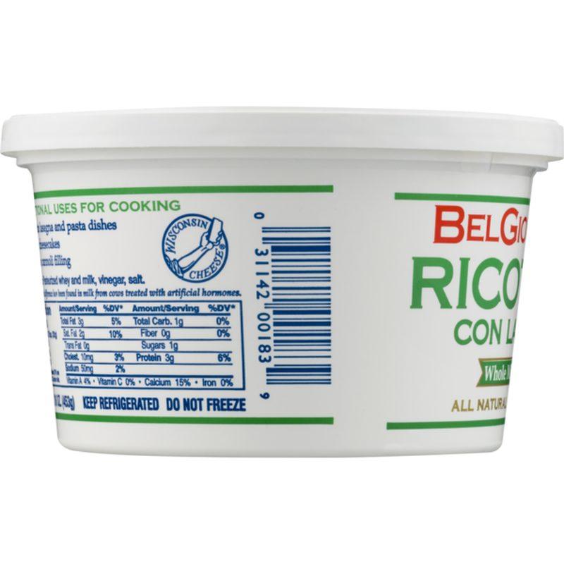 BelGioioso Ricotta Whole Milk Packaged Side 1