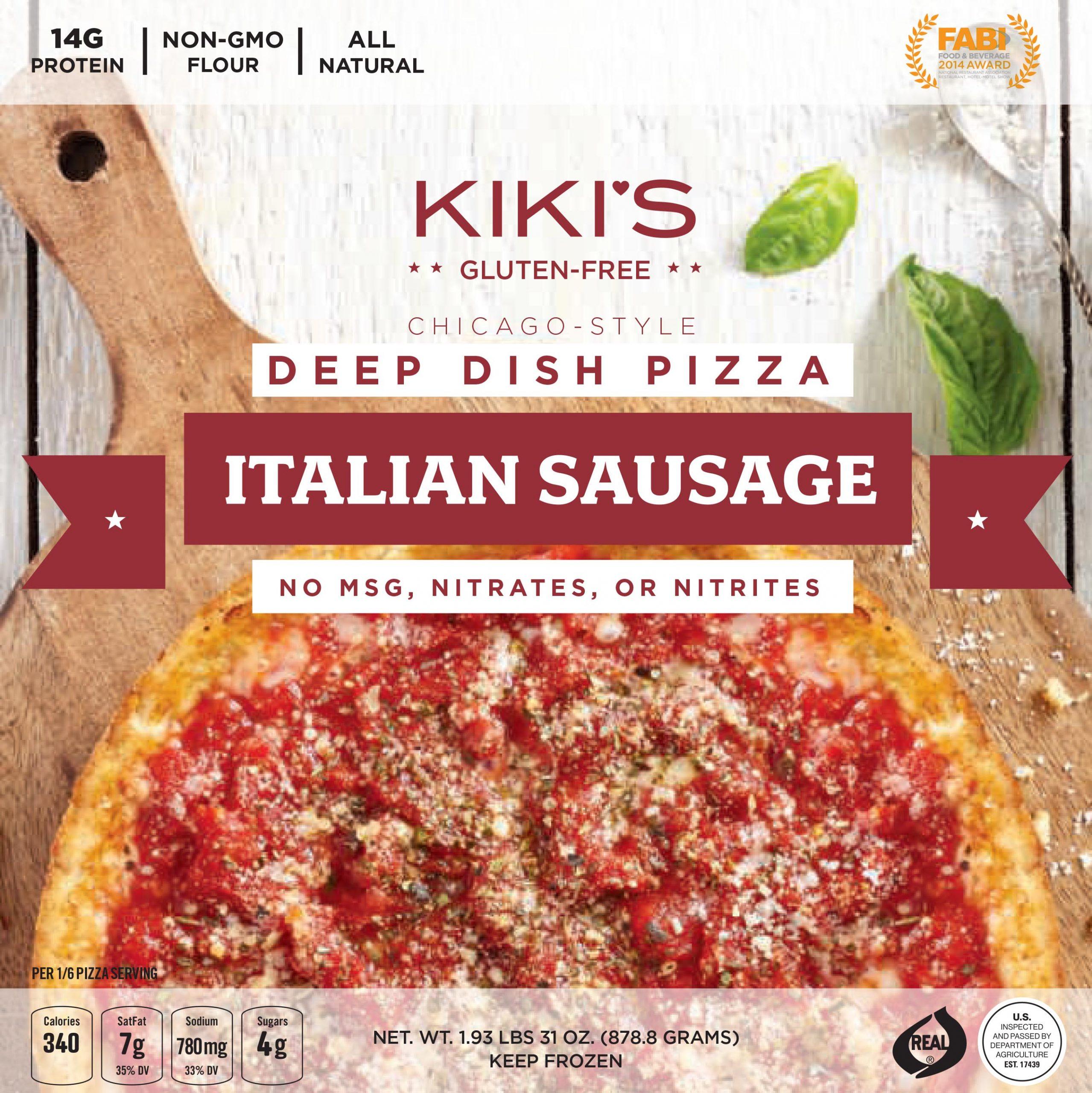 Kiki's Italian Sausage Deep Dish Pizza Box Top