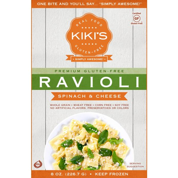 Kiki's Spinach and Cheese Ravioli front label packaging