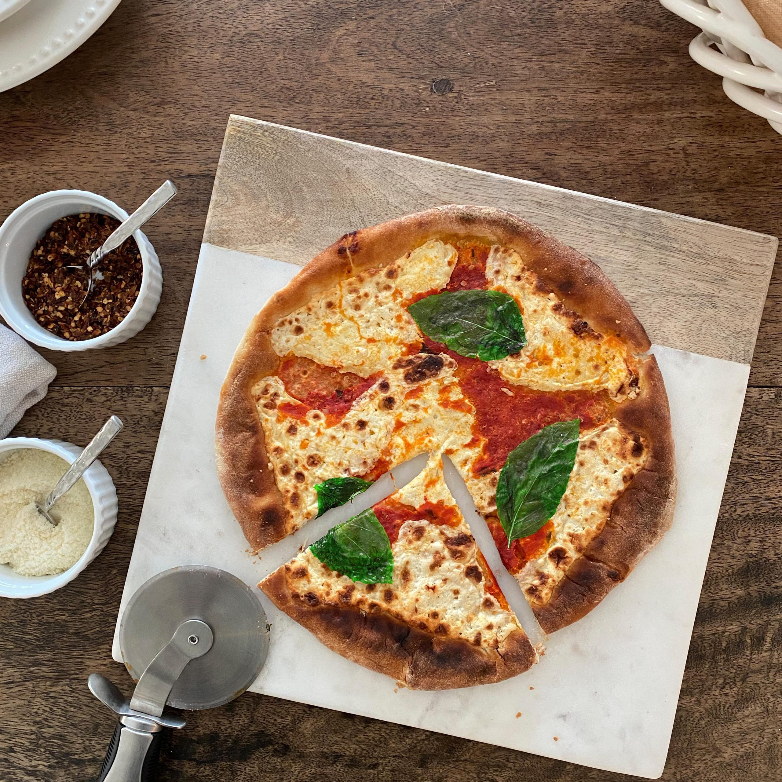 Margherita Pizza Plated Cut 1 Square V3