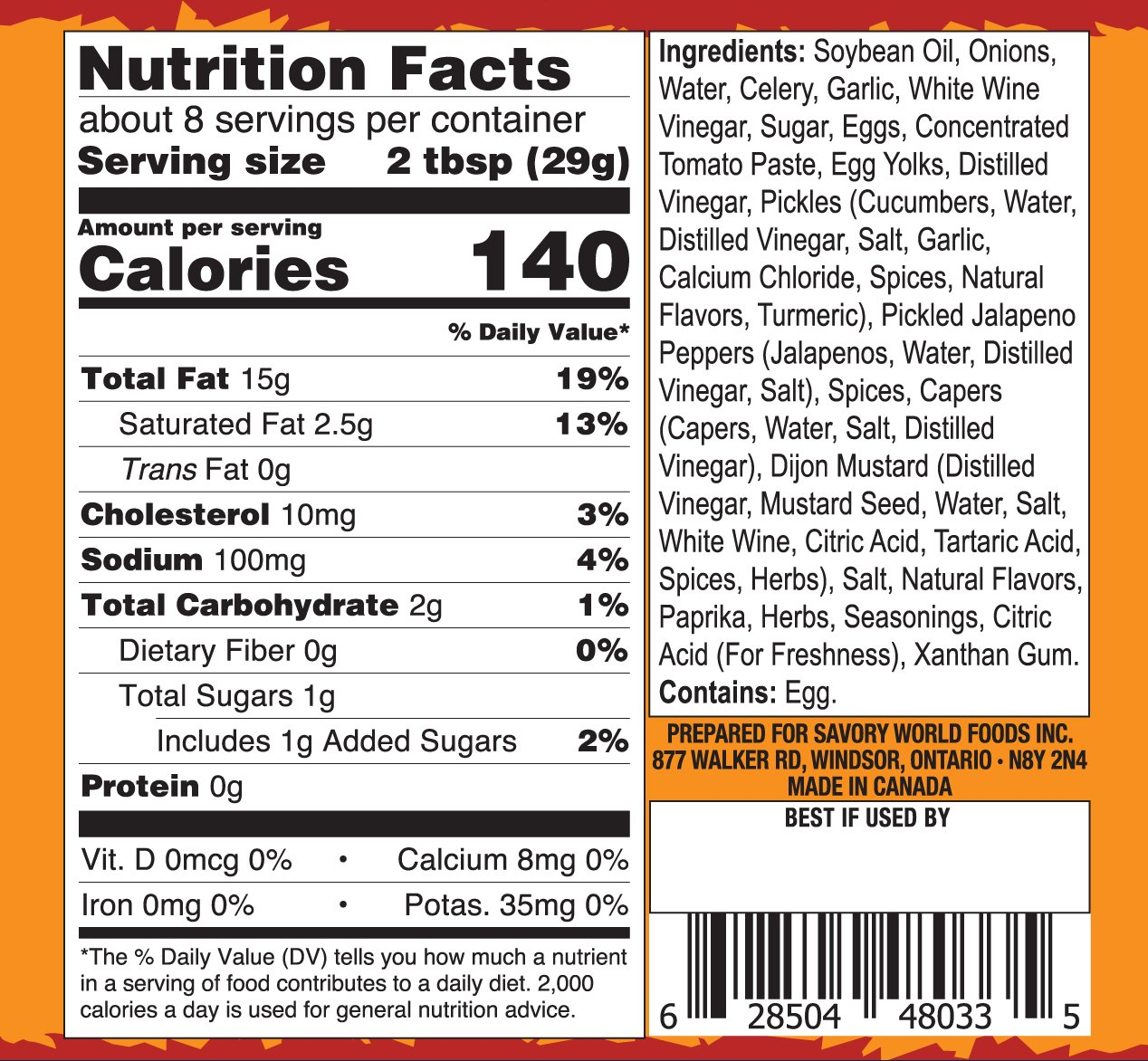 Bubi's Spicy Nutrition Label
