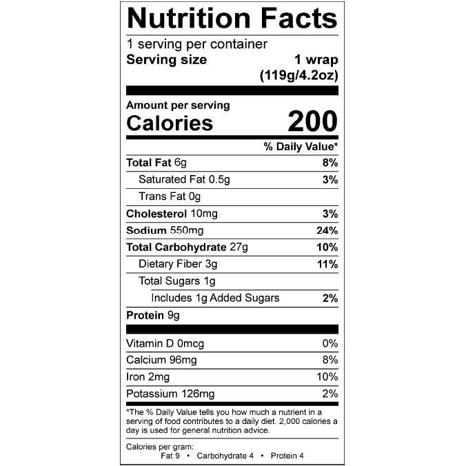 Nom Noms 4.2oz Carib Jerk Chicken Wrap Nutrition Facts Square