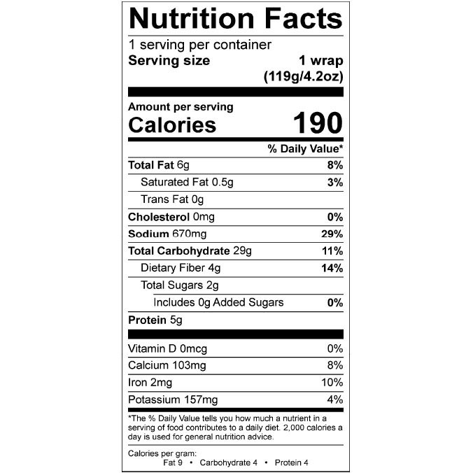 Nom Noms 4.2oz Med Falafel Wrap Nutrition Facts Square