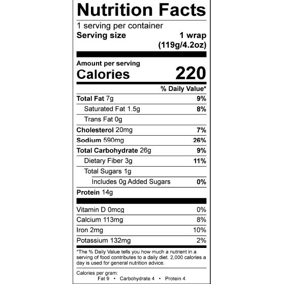 Nom Noms 4.2oz Mex Chicken Fajita Wrap Nutrition Facts Square