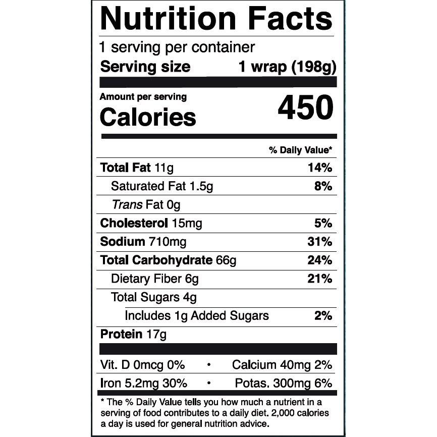 Nom Noms 7oz Caribbean Jerk Chicken Wrap Nutrition Facts - US Square
