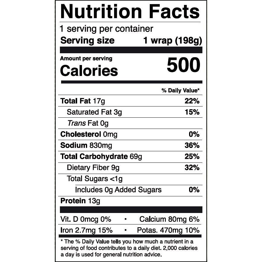 Nom Noms 7oz Mediterranean Falafel Wrap Nutrition Facts - US Square