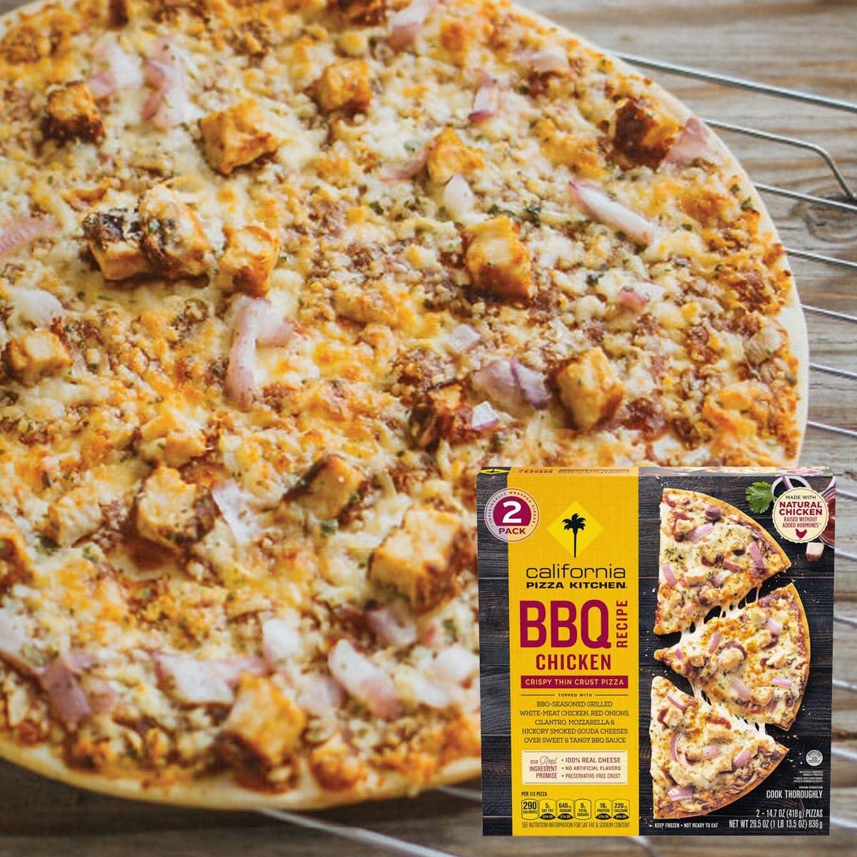 California Pizza Kitchen BBQ Chicken Crispy Thin Crust Pizza Plated Feature