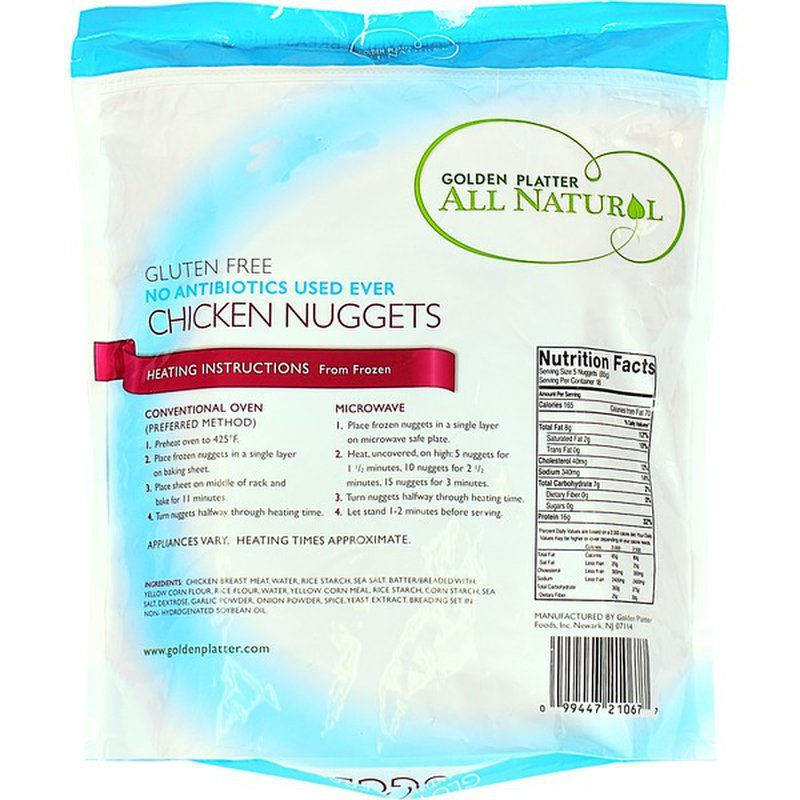 Golden Platter Gluten Free Chicken Nuggerts Packaged Back