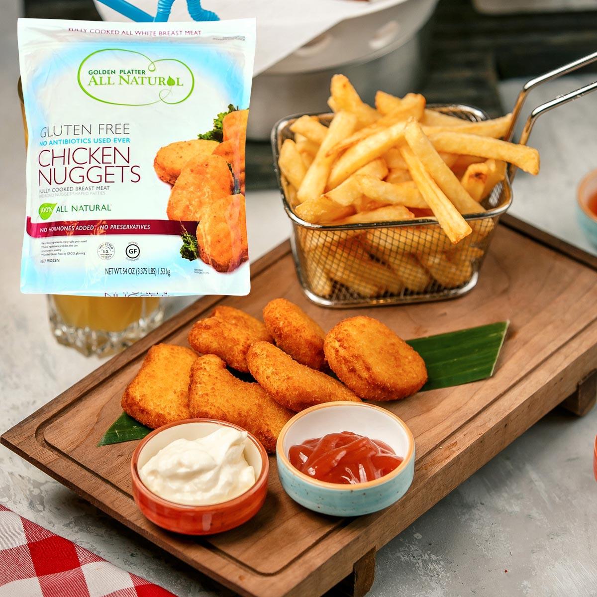Golden Platter Gluten Free Chicken Nuggerts Packaged Feature