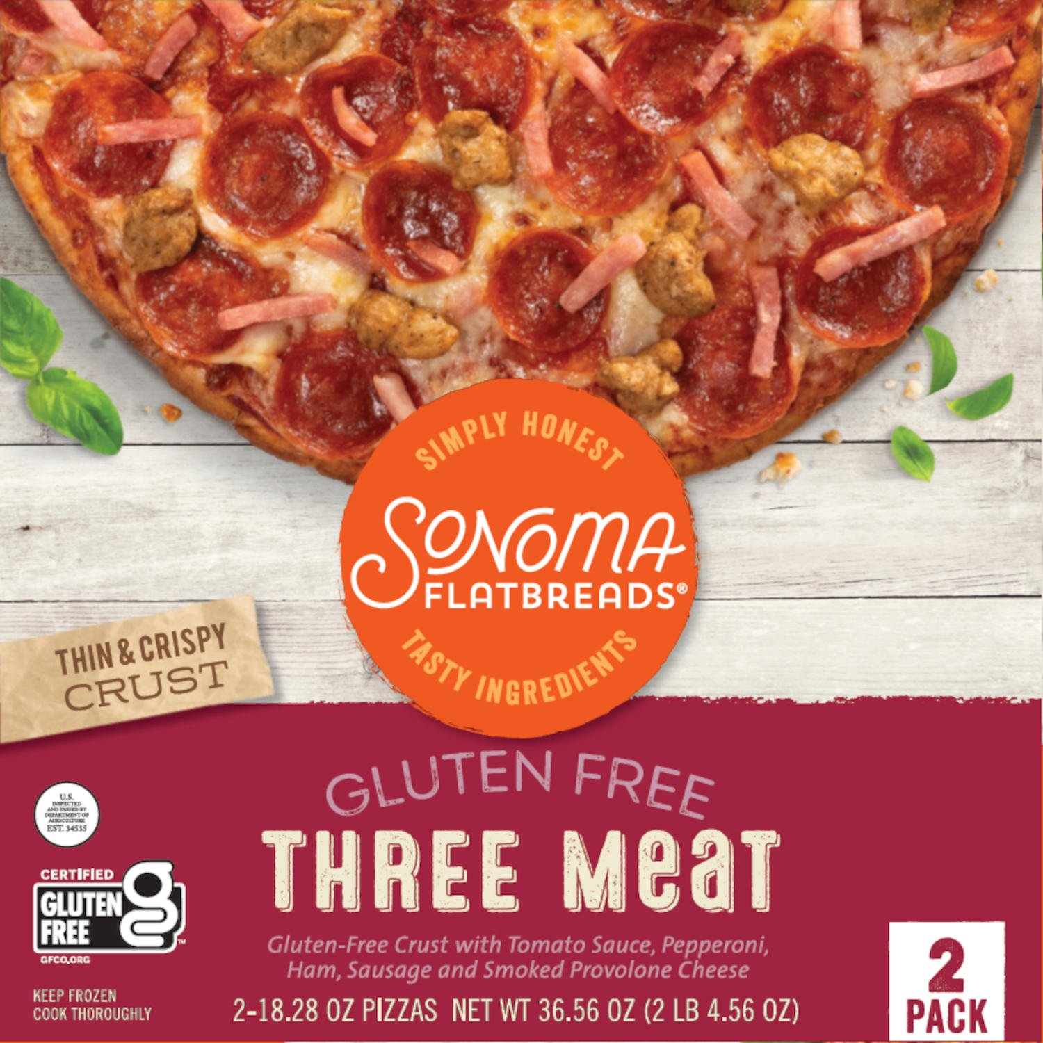 Simply Honest Sonoma Flatbreads Three Meat Front
