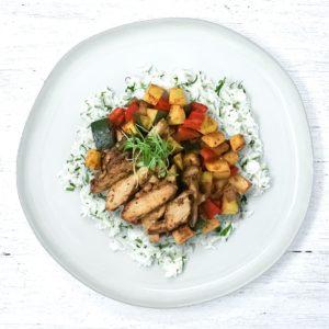 Chili Lime Chicken with Fajita Veg and Cilantro Cauli Rice