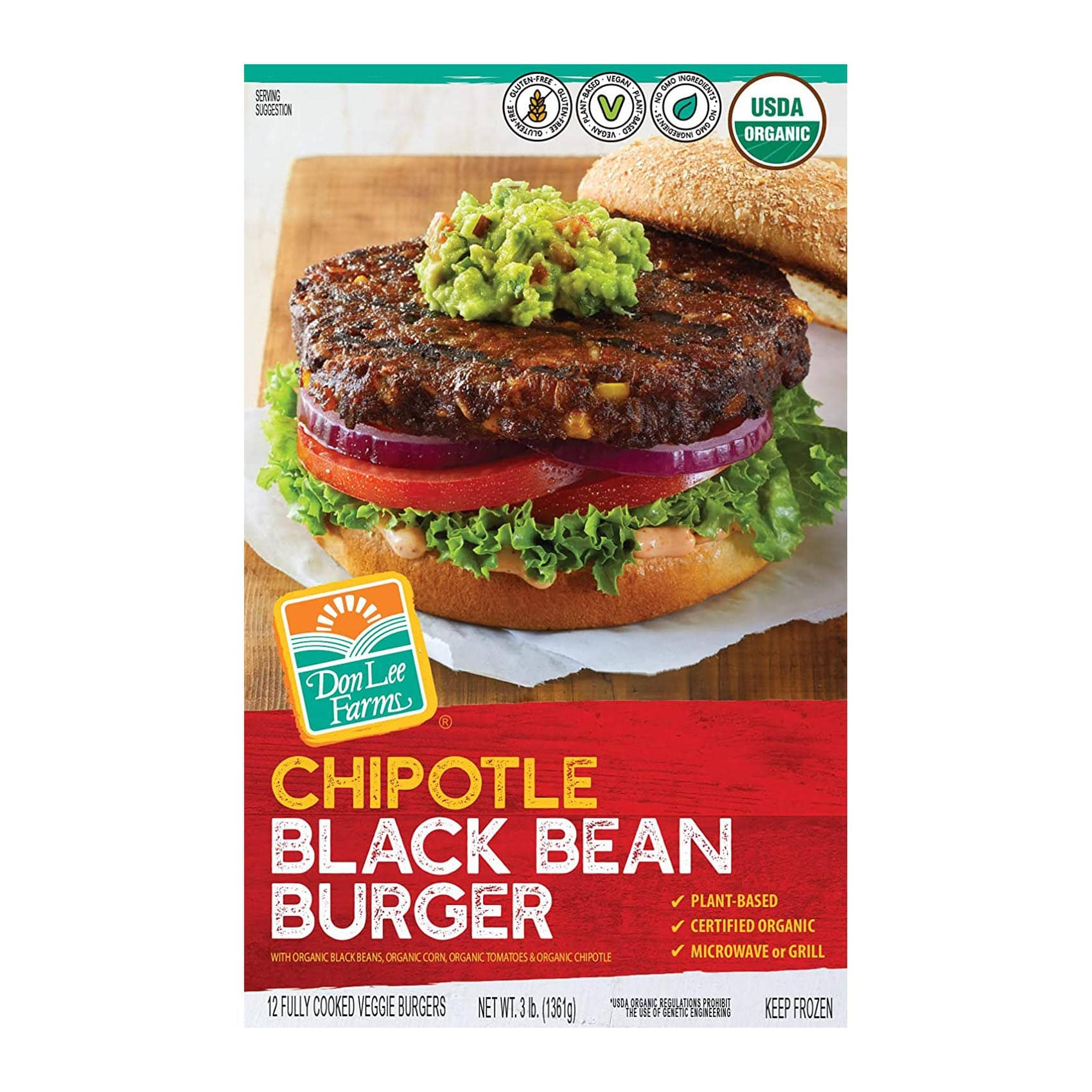 Don-Lee-Farms-Org-Chipotle-Black-Bean-Burgers-front Square