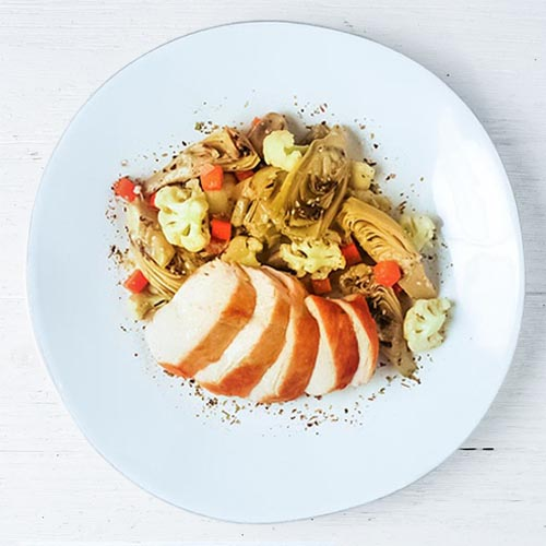 Roasted Chicken Breast with Artichokes Barigoule